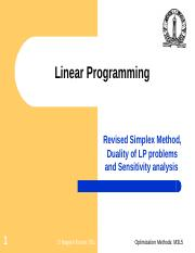 Revised Simplex Method, Duality of LP problems and Sensitivity analysis.ppt