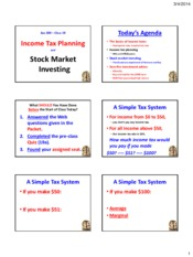 Powerpoint - Tax Planning and Stock Markets