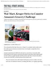 Wal-Mart, Kroger Strive to Counter Amazon's Grocery Challenge - WSJ.pdf
