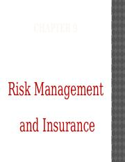 WEEK 10 LECTURE 1 - RISK MANANGEMENT AND INSURANCE.pptx