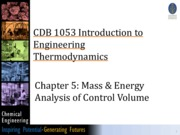 4) Chapter 5 Mass  Energy Analysis of Control Volume