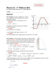 Physics6a 1st midterm2015(1) Answers