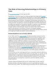 The Role of Nursing Relationships in Primary Care