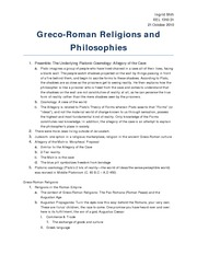 Greco-Roman Religions and Philosophies
