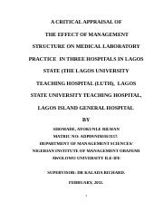 A critical appraisal of management structure on  medical laboratory practice in LUTH.docx
