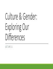 LEcture 11 Culture  Gender