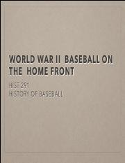 WW2  Baseball on the Home Front