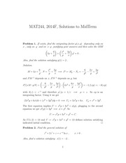 MAT244 Midterm Test 2014 Fall Solutions