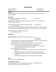 Sidney Watts UH Resume