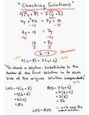 Math 9 Checking Solutions Notes