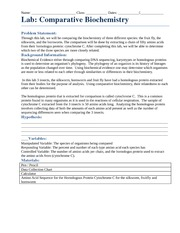 Comparative Biochemistry Lab Template