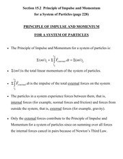 [D] Section 15.2 - Principle of Impulse and Momentum for a System of Particles
