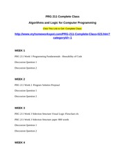 prg 211 algorithms logic for computer Read this essay on prg 211 (algorithms & logic for computer programming) entire course come browse our large digital warehouse of free sample essays get the knowledge you need in order to pass your classes and more only at termpaperwarehousecom.