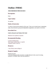 INB365 Official Course Outline - Winter 2012 My Version)