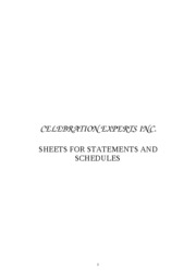 Celebration Experts Inc. (Sheets of Statements and Schedules)
