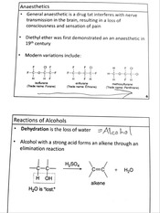 Anaesthetics & Reactions of Alcohols