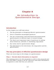 Construction of questionnaire