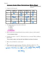 Average Atomic Mass Calculations problems