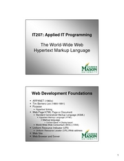 Lesson 01 - The World Wide Web & Hypertext Markup Language