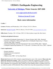 CEE611 Earthquake Engineering - University of MichiganSyllabus