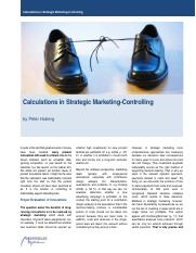 Calculations in Strategic Marketing 2011 11 13