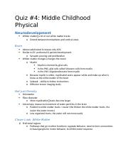 Quiz #4 Middle Childhood Physical