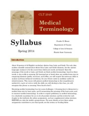 medical terminology syllabus