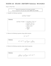MATH 115 Fall 2013 Exam 1 Review Solutions