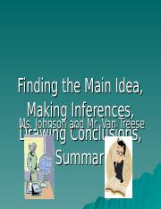 Main Idea, Inferences, Draw Conclusions, Summary Unit-VanTreese