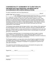CONFIDENTIALITY AGREEMENT OF CLIENT HEALTH INFORMATION AND PERSONAL INFORMATION IN ACCORDANCE WITH H
