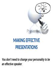 2016 MAKING EFFECTIVE PRESENTATIONS