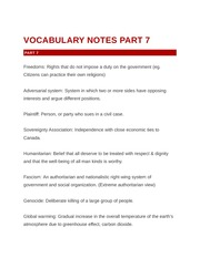 Vocabulary Notes Parts 7