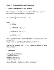 Topic 19 Ordinary Differential Equations