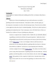 Research Proposal For Psychology 4099
