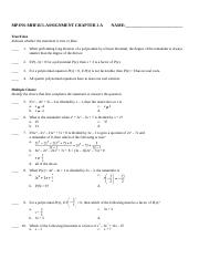 MHF4U1-ASSIGNMENT CHAPTER 2 A