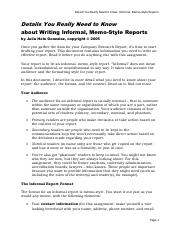 Details You Really Need to Know Writing Informal, Memo-Style Reports
