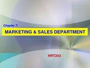 Ch. 7 Sales & Marketing Department (Blackboard)