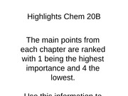 Highlights Chem 20B