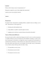 What are the four major sources of measurement error Illustrate by example how