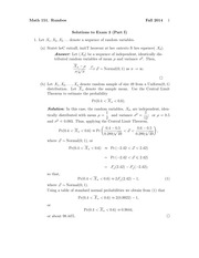 MATH 151 Fall 2014 Midterm 3 Version 1 Solutions