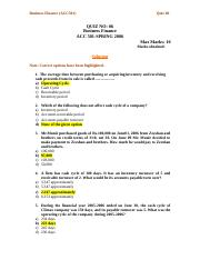 Business Finance - ACC501 Spring 2006 Assignment 09 Solution