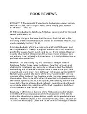 TH 499-BOOK REVIEWS- Epiphany-