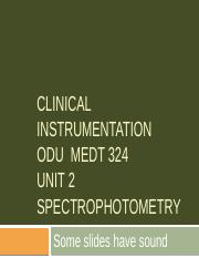 Medt 324 Unit 2 Spectrophotometry