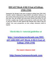 EDU 657 Week 4 DQ 2 Cost of College.doc
