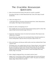 critical thinking   IASC  P   discussion questions the crucible act