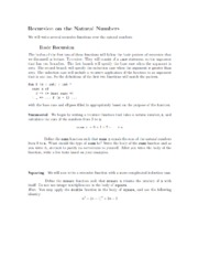 Recursion on Natural Numbers