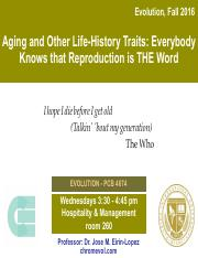 Lecture 14- Aging and Other Life-History Traits