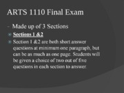 ARTS 1110 Final Exam Review