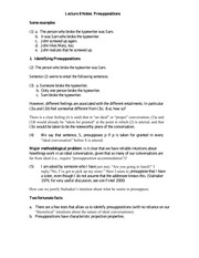 Lecture 8 Notes Presuppositions