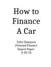 How to Finance A Car - Tyler Sampson